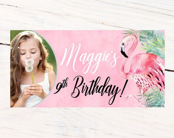 Watercolor Flamingo Personalized Banner, Happy Birthday Banner- Pool Party Photo Banner, Summer Fun Banner, Pink Flamingo Printed Banner
