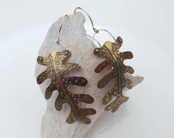 Fern leaf creatures earrings