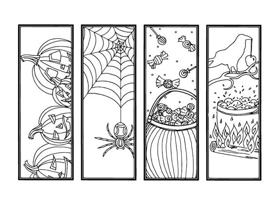 DIY Halloween Bookmarks-Holiday Crafts-Color Your Own