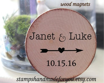 Custom Wooden  magnets // Custom Save the date // Wedding Favor Wood Magnets arrow LOVE theme-custom made