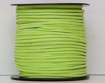 Apple green faux suede cord 3mm Jewelry supplies Jewelry cord  Green suede rope Suede thread Craft project/ 3 meters