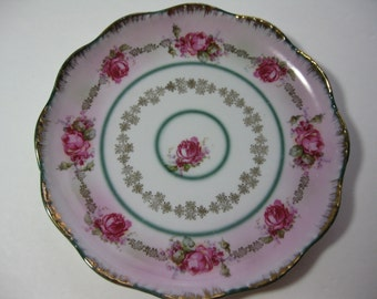 Antique Bone China Plate with Roses