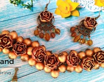 Gold rose, jewerly set, brown earring,colored set,gold bracelet, cold porcelain