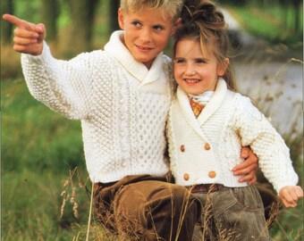 Childrens knitting pattern childrens aran coats aran jackets hat childrens knitting pattern childrens aran sweater cardigan shawl collar 24 30 inches aran childrens knitting patterns pdf instant download dt1010fo