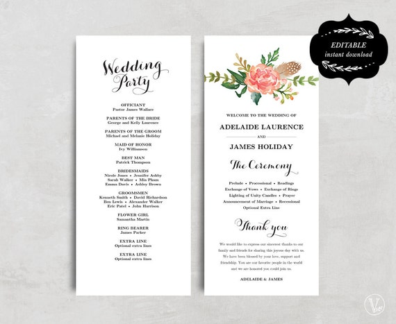 Printable Wedding Program Template Floral Wedding Program