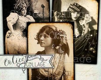 Printable, Gypsy Women, Decoupage Paper, Halloween, Ephemera, Digital Download, Junk Journal, Scrapbooking, Hang Tags, Ephemera Pack, Gypsy