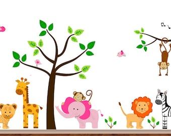Jungle wall sticker: pink elephant decal monkey wall sticker giraffe wall decal baby room decor stickers for walls boy nursery decals