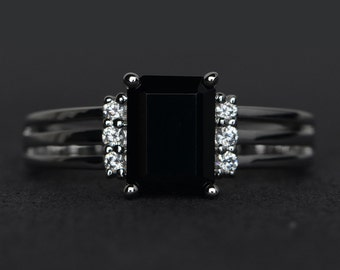 natural black spinel ring silver emerald cut black ring black gemstone ring party ring