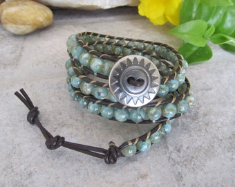 Wrap Bracelet, Leather Wrap Bracelet, Boho Wrap Bracelet, 3 x Wrap Bracelet, Mint Green Wrap Bracelet, Leather Wrap Bracelet, Boho Jewelry
