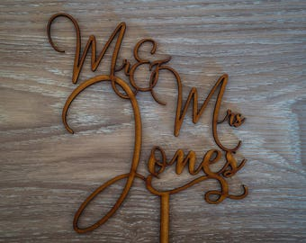 Custom Made Personalised Wedding Cake Topper - Mr & Mrs Surname - [Kiara Font]