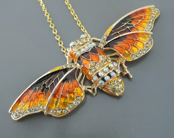 Statement Necklace - Butterfly Necklace - Gold Necklace - Yellow Orange Enamel Necklace - Upcycle Necklace - Rhinestone Necklace - Handmade