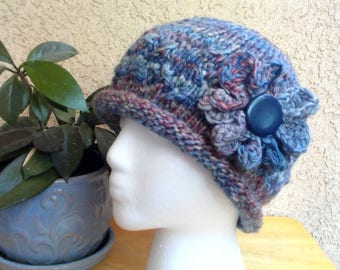 Blue Multi-Colored Rolled Brim Hat. Blue-Gray. Brown. Knit Hat. Handspun Hat. Optional Crochet Flower. Vintage Button. Wool and Seacell Yarn