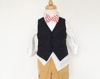 Coral Stripe Bow Tie
