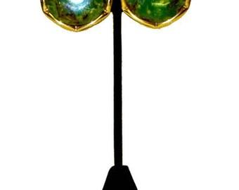 Vintage Modeled Green Bakelite Earrings
