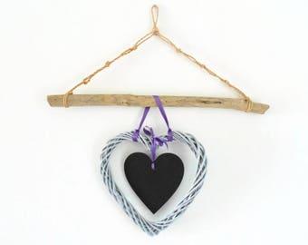 medium double Wicker heart drift wood and slate - wall decor - creating unique handmade - gift idea - Christmas