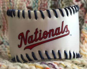 Washington Nationals Baseball Cuff with red stitches or black - you choose