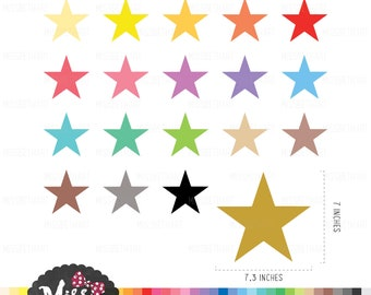 30 Colors Star Clipart - Instant Download