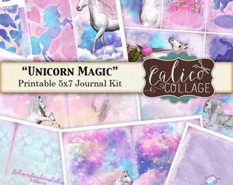 Unicorn Magic, Journal Kit, Printable Journal, Fantasy, Digital, Junk Journal Kit, Digital Printable, CalicoCollage, Altered Art Kit