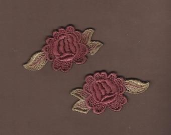 Hand Dyed Venise Lace Appliques Florals Wine Rose Bliss Set of 2