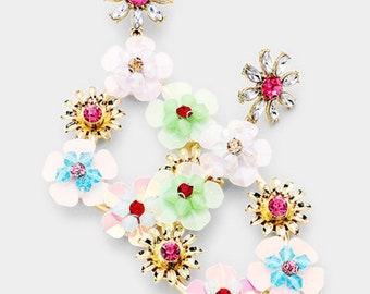 Assorted Colors - Cluster Hoop Dangle Earrings
