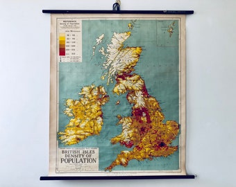 Vintage Roll Up Map - British Isles - Density of Population - Circa 1930s - George Philip & Son Ltd. - London Geographical Institute