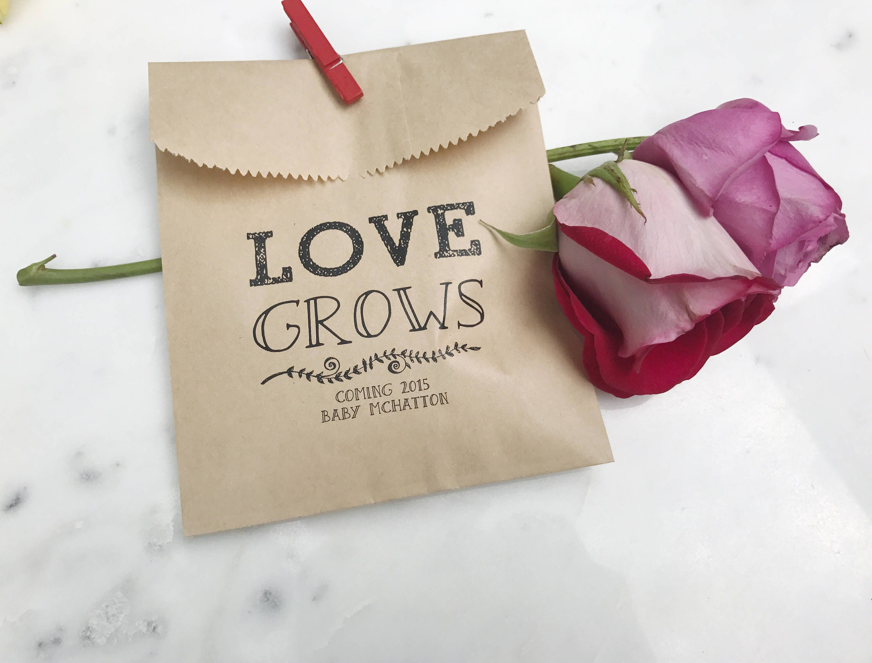 Baby Shower Favor Bags Love Grows Favor Bags Custom
