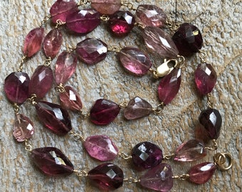 Pink tourmaline nugget necklace