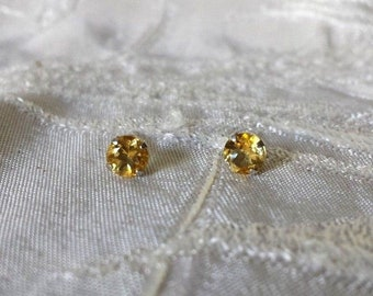 Sterling Silver 925 Stud Earrings 5 mm Natural Citrine NEW .80 tcw