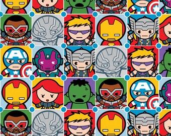 Marvel Avengers Ultron Superhero Kawaii Superheroes Character Tiles Cotton Fabric by Springs Creative Iron Man Hulk Thor Captain America