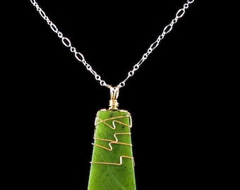 Nephrite Jade Pendant - yellow gold, wire wrapped, natural jade, green, long pendant, medium size, smooth 1 side, rough 1 side, 2 sided