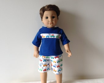 18 inch Boy doll two piece set of pajamas, with cars. Fits American Girl Logan doll. Short set for boy doll.
