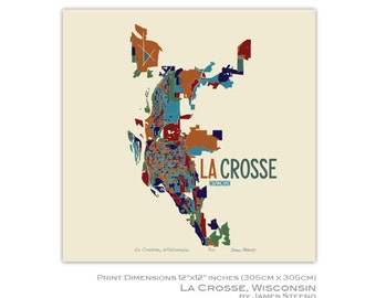 La crosse map etsy la crosse wisconsin city art map print la crosse county by james steeno reheart Gallery