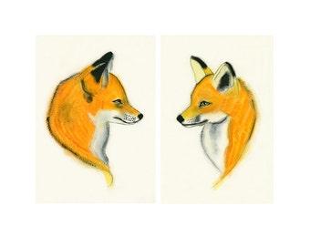 Fox art prints SALE gift set - (4 X 6 inch) Prints