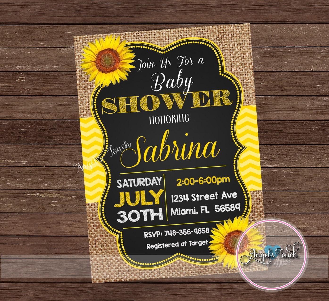Sunflower Baby Shower Invitation Picnic Baby Shower Picnic