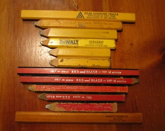 One Dozen (12) Vintage Carpeneter Pencil Lot - Found Objects - Repurpose or Use As Is - Fresh Off the Workbench - Craftsman Advertising