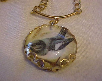 PHOTO CHARM NECKLACE--Sweet Little Bird Dressed up in His Grey Flannel Suit!  On a Lovely Gold-Tone Chain-Perfect for this Spring & Summer