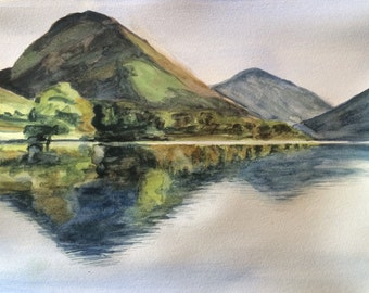 Mountain painting, Wastwater, Lake District, Yewbarrow and Great Gable, Lake reflection