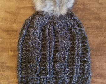 """Cable """"knit"""" Crocheted Pom Beanie"""