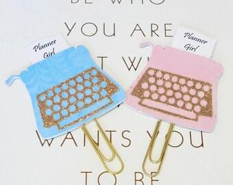 Planner girl planner clip, typewriter planner clip, glitter planner clip, blue planner clip, pink planner clip, planner accessories, C2