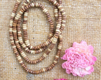 Long brown necklace with tassel