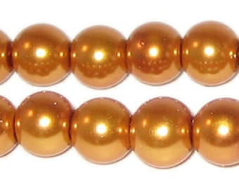 12mm Round Yellow Gold Glass Pearl Bead