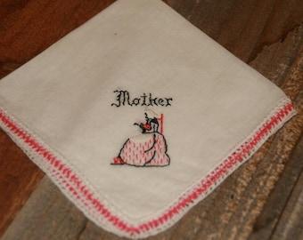 Vintage White Hankie Handkerchief  Embroidered  Pink  Mother Design Cotton Vintage Hankie
