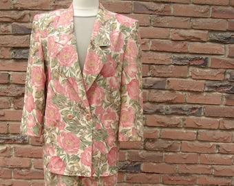 Two Piece Suit Peach and Sage Floral Print