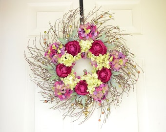 Purple Wreath READY TO SHIP Spring Summer Fall season Dark Purple dry look ranunculus Green purple hydrangea Front Door Grapevine  wreath