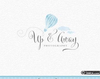 Premade Hot Air Balloon Logo, Photography Logo, Whimsical Logo, Clouds Logo, Watercolor Logo, Watercolour Logo Baby Logo, Baby Blue
