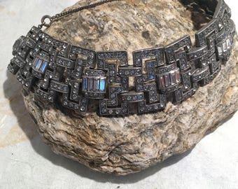 Art Deco Rare Channeled Rhinestones Rhodium Bracelet