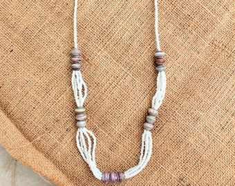 """Beaded Necklace with Recycled Paper Beads & White Beads // """"Muzungu Necklace"""" // Because of Hope"""
