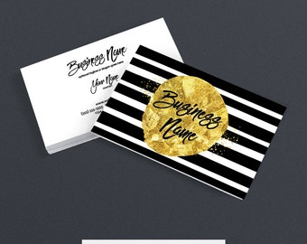 2 Sided Printable Business Card Design - Etsy Shop Business Cards - Glam Business Card Designs - Black and Gold -  Geometric 7-16