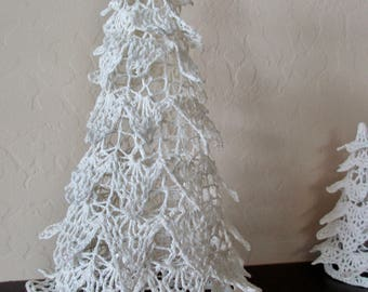 "vintage 9.5"" crocheted standing tree ornament - white, cotton"