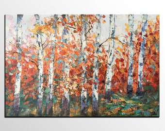 Oil Painting Landscape, Canvas Art Painting, Extra Large Painting, Original Oil Painting, Impasto Art, Autumn Birch Tree Painting